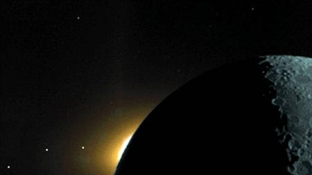 The plane of the ecliptic is illustrated in this Clementine star tracker camera image from 2017, which reveals (from right to left) the moon lit by earthshine; the sun's corona rising over the moon's dark limb; and the planets Saturn, Mars and Mercury.