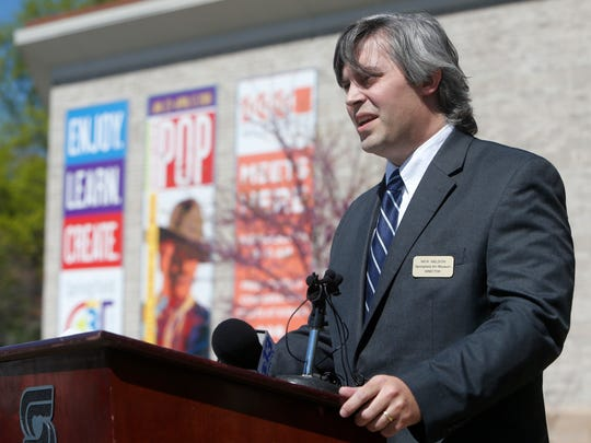 Nick Nelson, director of the Springfield Art Museum, speaks on Tuesday, April 12, 2016 during a press conference about the theft of seven Andy Warhol prints from the Springfield Art Museum five days earlier.