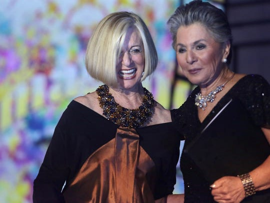 US Senator Barbara Boxer presents Helene Galen with the 100 Women Award at the 21st Annual Steve Chase Humanitarian Awards at the Palm Springs Convention Center Saturday night.