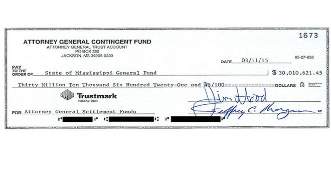 The check for $30,010,621.45 is the result of litigation involving cases against Standard & Poor's ($26,812,580.67) and Capital One Bank ($3,198,040.78