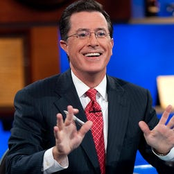 "In this Sept. 8, 2010, photo released by Comedy Central, host Stephen Colbert appears during the ""Been There: Won That: The Returnification of the American-Do Troopscapeon"" special of ""The Colbert Report,"" in New York. ""The Colbert Report"" will end on Thursday after nine seasons."