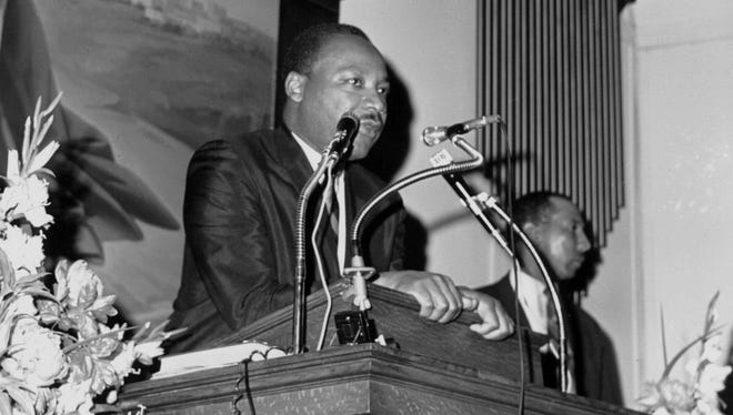 The Rev. Martin Luther King Jr. speaking at Bethel A.M.E. Church in Paterson, days before his assassination in 1968.