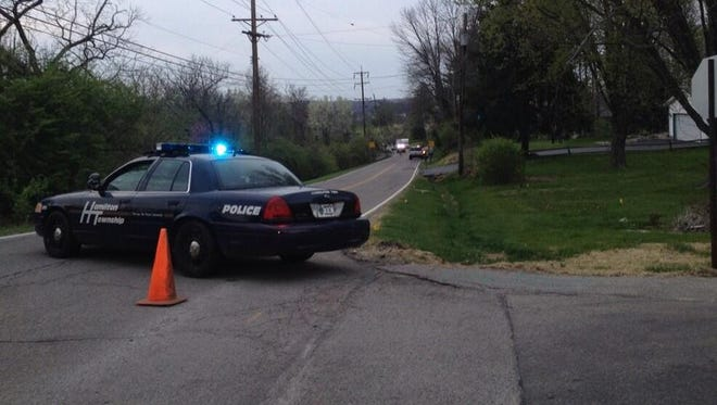 Police and sheriff's deputies closed off a portion of Lebanon Road Monday evening.