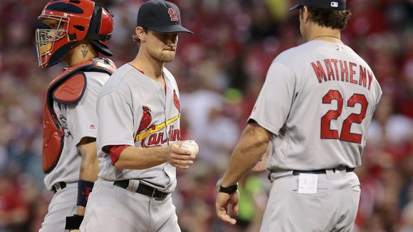 St. Louis Cardinals starting pitcher and former Red Mike Leake (47) leaves the game in the bottom of the seventh inning of the MLB National League game between the Cincinnati Reds and the St. Louis Cardinals at Great American Ball Park on Tuesday, June 7, 2016.