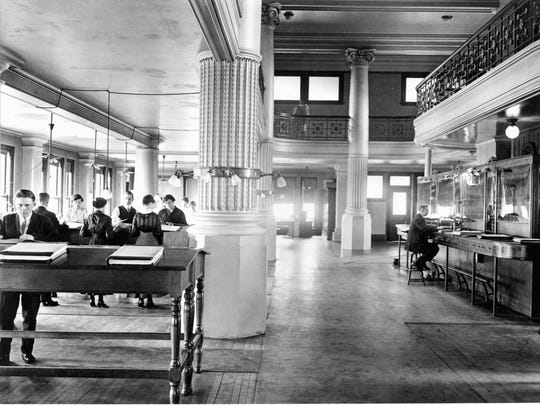 The interior of the People's Trust Bank around 1930.