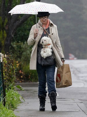 Gracie McKeowen carries her dog Rocky as she walks in the rain in Guerneville on Saturday. Weather forecasters expect a storm from the Pacific called an atmospheric river to dump  rain on the parched state for the next few days.
