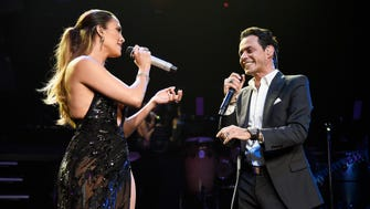 Jennifer Lopez performs  with Marc Anthony at Radio City Music Hall on Saturday in New York.