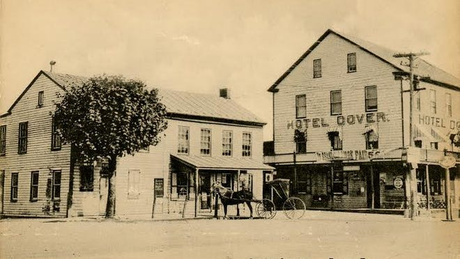 Postcard of the Hotel Dover, Centre Square, Dover, Pa.  Submitted