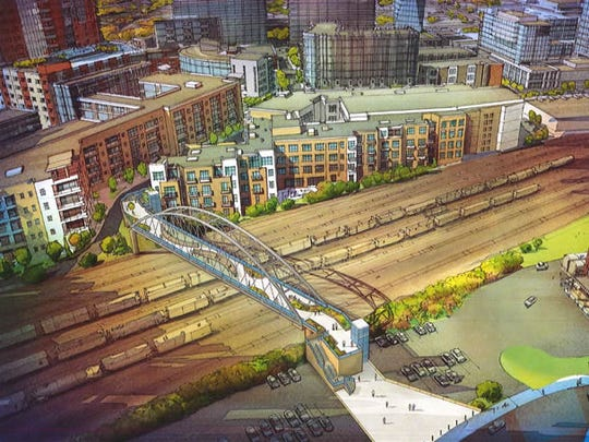 A rendering of the proposed pedestrian bridge connecting the Gulch and SoBro neighborhoods.
