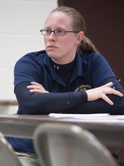 Port Edwards Police Chief Jennifer Iverson sits during a meeting of the Protective Services Committee at Edwards Alexander Shelter in Port Edwards, Tuesday, March 1, 2016.