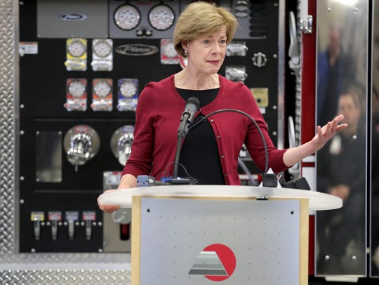 U.S. Sen. Tammy Baldwin makes an announcement regarding the America's College Promise Act of 2018 at Fox Valley Technical College's Public Safety Training Center Friday in Greenville.