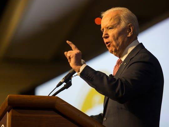 Former Vice President Joe Biden gives the keynote address