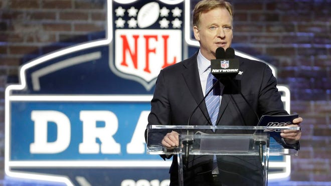 From April 25, 2019, NFL Commissioner Roger Goodell speaks ahead of the first round at the NFL football draft in Nashville, Tenn. In a memo sent to the 32 teams Monday, April 6, 2020, and obtained by The Associated Press, NFL Commissioner Roger Goodell outlined procedures for the April 23-25 draft. The guidelines include no group gatherings.