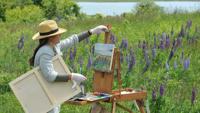 Milisa Valliere, of Brewster, makes way for a larger canvas as she paints the lupine growing along the path at Fort Hill.