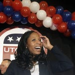 Republican Mia Love celebrates after narrowly winning the race for Utah's 4th Congressional District on Nov. 4, 2014, in Salt Lake City.