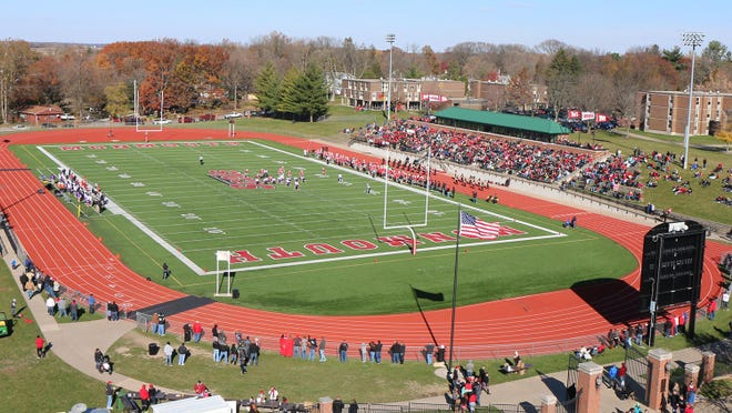 Monmouth College football field is shown in Monmouth, Illinois.