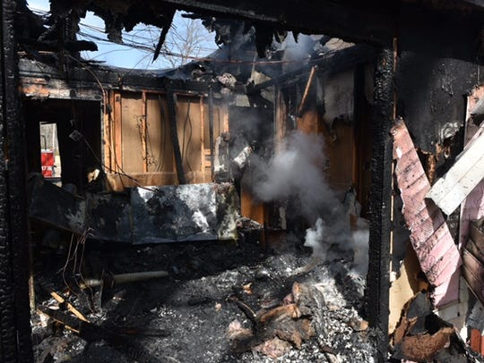 A rancher in Lawrence Township ravaged by a fire Thursday.