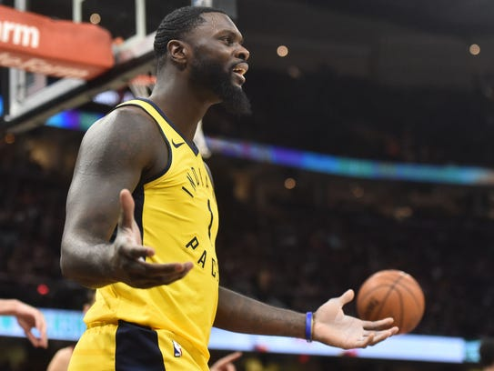 Indiana Pacers guard Lance Stephenson (1) argues a
