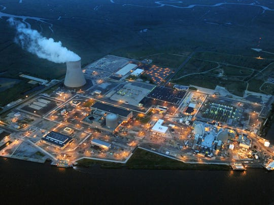 Lights glow around PSEG's Salem/Hope Creek nuclear complex on New Jersey's side of the Delaware River southeast of Port Penn.