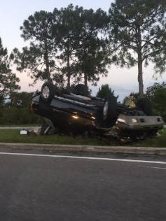 BCFR responded to a report of an overturned vehicle on Port St. John Parkway on Wednesday evening.