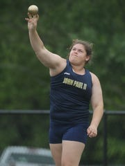 St. John Paul II's Macy Kelley throws shot put during the District 3-1A meet. Kelley, who was fifth in the state in 1A last year, grabbed a district title.