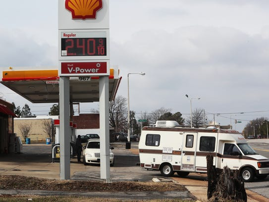 February 7, 2018 - A vehicle leaves the Shell gas station,