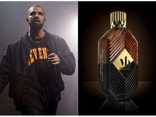 This combination photo shows Drake performing as part of the Summer Sixteen Tour in New York on Aug. 5, 2016, left, and his Virginia Black Decadent American Whiskey.