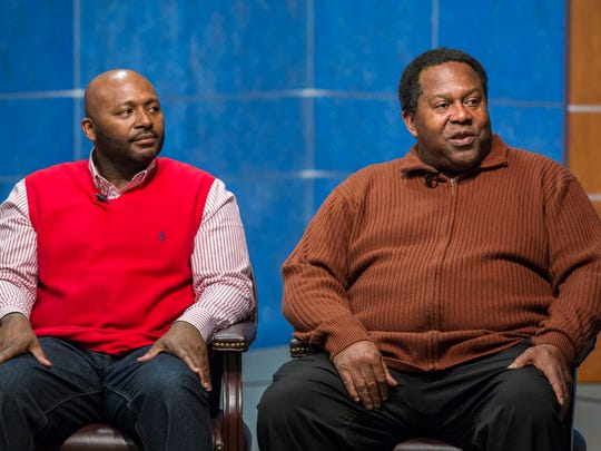 "Former NFL running back Anthony Anderson (right) responds to a question as he sits with William ""Hicks"" Anderson Community Center director U'Gundi Jacobs during the Stop the Violence Prayer Chain's live TV show at the Comcast 28 broadcast studio on Monday night."