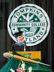 Justine Lewis, a graduate of the Tompkins Cortland Community College class of 2008, was the keynote speaker Thursday evening.