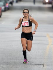 Brenda Hodge, shown here during the YMCA York Half Marathon in 2017, finished 180th overall for women in the Boston Marathon on Monday. DISPATCH FILE PHOTO