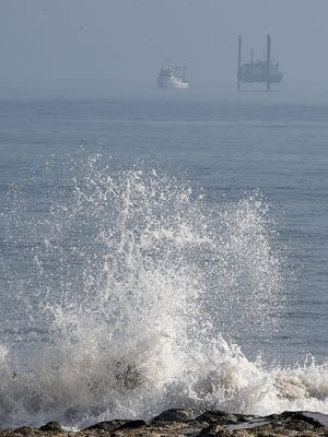 A large offshore drilling rig and survey boat have arrived off Rehoboth Beach in the Atlantic Ocean to start test borings and surveys for the city's proposed sewage outfall pipe to be placed underwater.