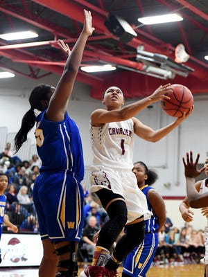 Crockett County's Anya Patterson goes up for a shot as Westview's Deja Graves attempts to block her shot during their game, Friday, Jan. 26. Westview defeated Crockett, 42-37.