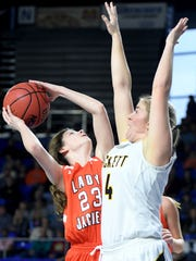 Greenfield's Edie Darby goes up for a shot over Pickett
