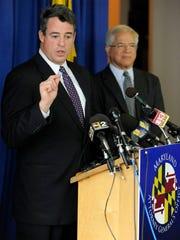 Maryland Attorney General Douglas F. Gansler, left,