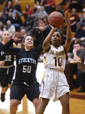 Salisbury's Anna Hackett led the Sea Gulls with 21 points against Stockton in their previous game.