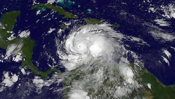 Hurricane Matthew swirls in the Caribbean on Monday, Oct. 3, 2016.