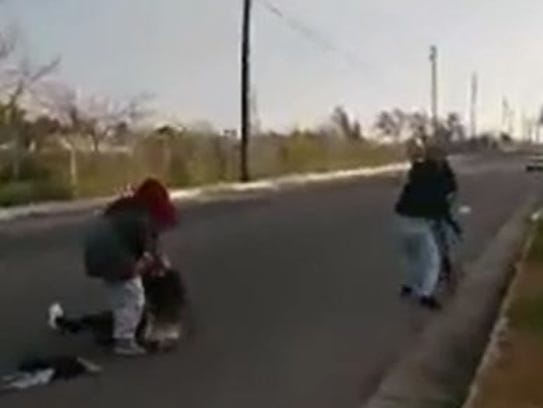 A screen capture of a January 22 robbery of two teenage