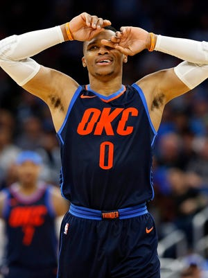 Oklahoma City Thunder guard Russell Westbrook (0) reacts during the second half against the Orlando Magic at Amway Center.