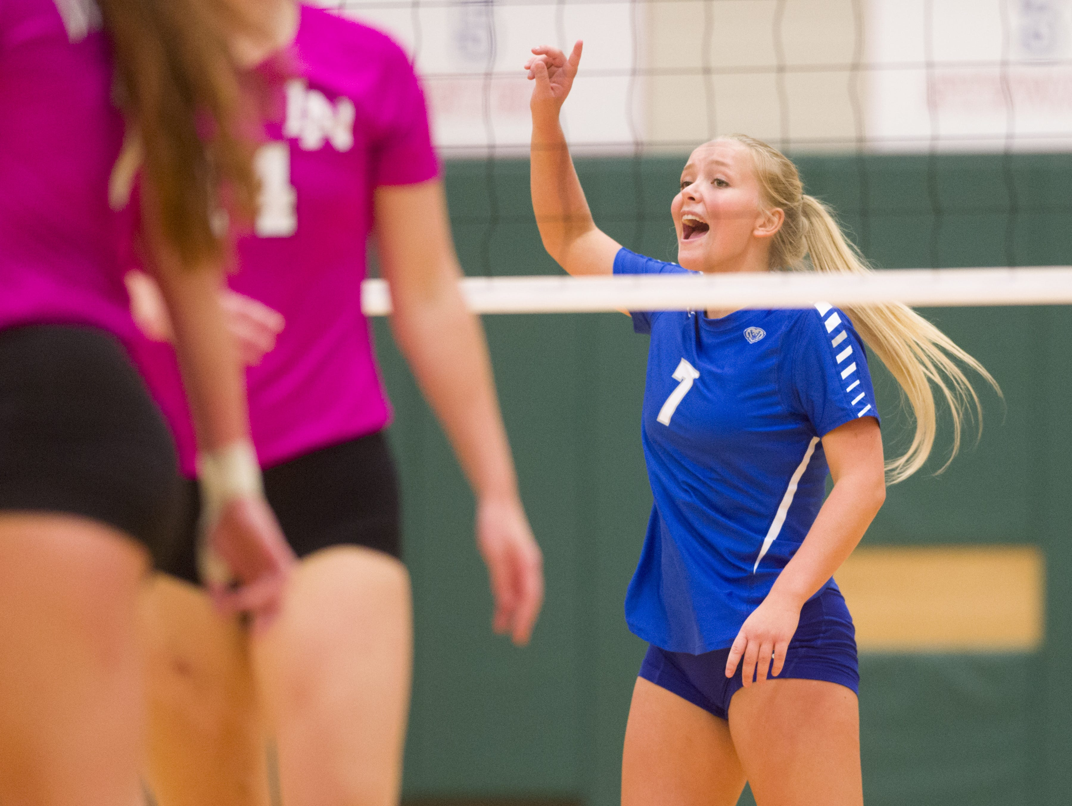 FILE -- Hamilton Southeastern High School senior Olivia Burgess (7) reacts to a point during varsity volleyball action Tuesday, August 23, 2016, at Lawrence North High School.
