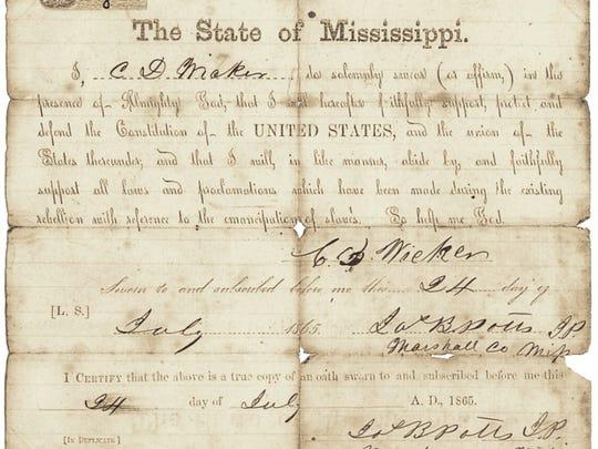 Loyalty oath signed by C.D. Wicker in 1865