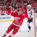 Dylan Larkin celebrates his goal against the Washington Capitals in the first period on Wednesday night.