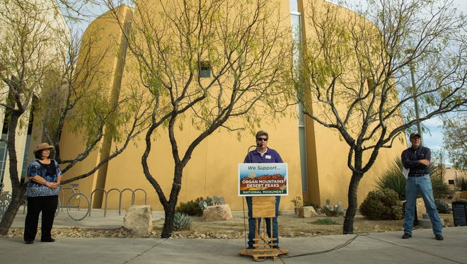 Carrie Hamblen, the president and CEO of the Las Cruces Green Chamber of Commerce, speaks outside of Las Cruces City Hall, protesting the announcement of President Donald Trump's order to shrink the footprint of two national monuments in Utah. Monday Dec. 4, 2017.