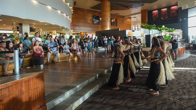 Inetnon Gefpå'go entertains the crowd during the Biba Mes Chamoru Opening Ceremony at Outrigger Guam Beach Resort in Tumon on March 2, 2018.