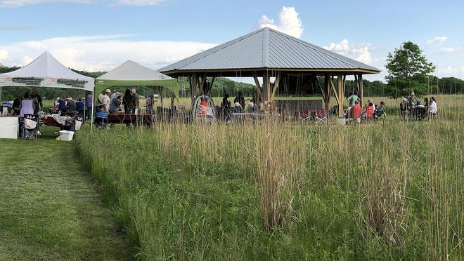 A pavilion sits on land owned by the Jo Daviess Conservation Foundation near Hanover.