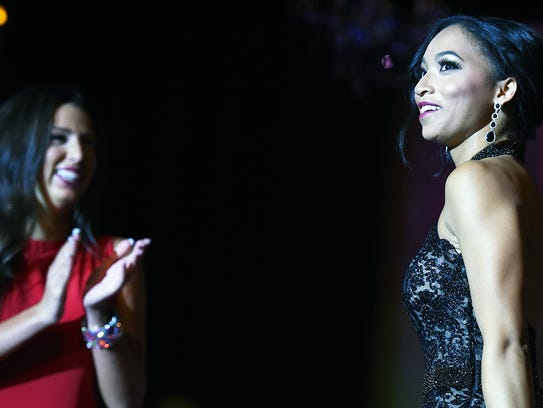 Chelsea Bruce, Miss Newark, reacts as her name is announced