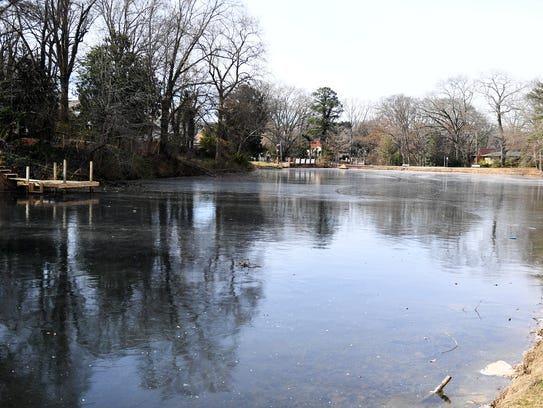 Below freezing temperatures caused the pond on Campbell