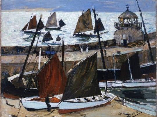 """Across the Harbor-St. Ives Bay,"" oil on canvas, by"