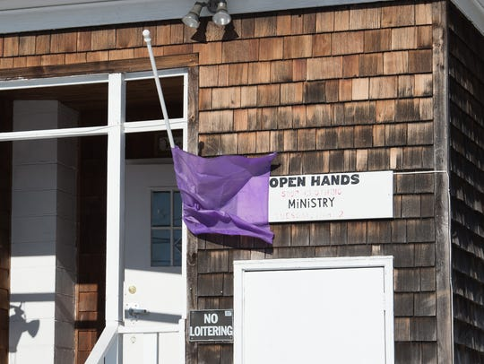 A purple flag flies outside Immanuel Shelter in Rehoboth in 2018.