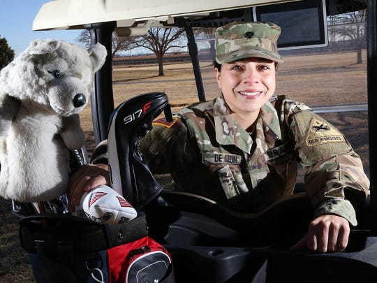 Spc. Melanie De Leon recently won the individual gold while helping the US women win the team gold in the World Military Golf Championships in Sri Lanka.