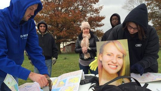 Friends and family search for Chelsea Bruck, 22, of Monroe County, who disappeared early in the morning of Oct. 26 while at a Halloween costume party.